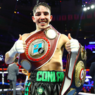 Michael Conlan celebrates defeating Vladimir Nikitin in their featherweight bout at Madison Square Garden in New York, USA. Photo by Mikey Williams/Top Rank/Sportsfile