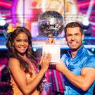 Kelvin Fletcher with Oti Mabuse after the actor won the Glitterball trophy (BBC)