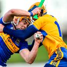 Ronan Maher of Tipperary in action against Seadna Morey of Clare during the Co-op Superstores Munster Hurling League 2020 Group A clash at McDonagh Park in Nenagh, Tipperary. Photo: Piaras Ó Mídheach/Sportsfile