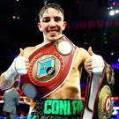 Michael Conlan celebrates defeating Vladimir Nikitin in their featherweight bout at Madison Square Garden. Photo: Mikey Williams/Top Rank/Sportsfile