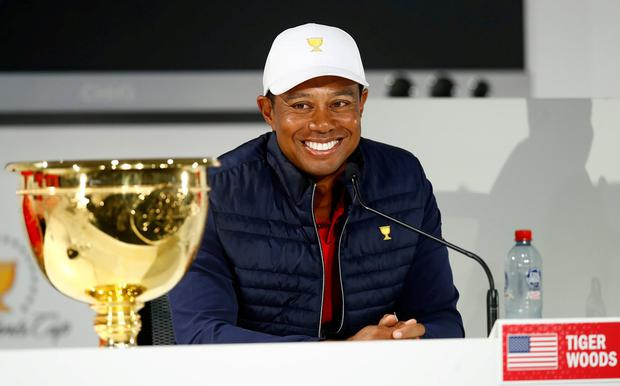 Playing Captain Tiger Woods of the United States team speaks to the media as he celebrates after they defeated the International team 16-14 during Sunday Singles matches on day four of the 2019 Presidents Cup at Royal Melbourne Golf Course. Photo: Daniel Pockett/Getty Images