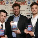 Jonathan Sayer, Henry Lewis and Henry Shields (Anthony Devlin/PA)
