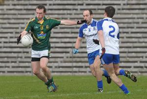Eamon Wallace, Meath, in action against Gavin Doogan and Ryan Wylie, Monaghan