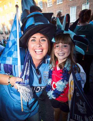 Dublin fans Sharon Gorman & Ava Gorman (9) both from Glasnevin in Merrion Square during arrival celebrations of the Dublin GAA team