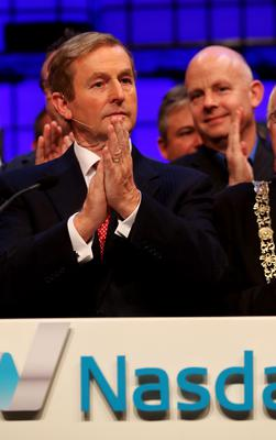 An Taoiseach Enda Kenny after ringing the Nasdaq bell on the centre stage at Web Summit 2014 at the RDS in Dublin. Photo: Brian Lawless/PA Wire