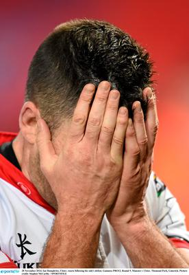 Ian Humphries, Ulster, reacts following his side's defeat. Guinness PRO12, Round 9, Munster v Ulster. Thomond Park, Limerick. Picture credit: Stephen McCarthy / SPORTSFILE