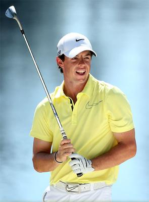 10 April: Rory looks at a shot during the Par 3 Contest prior to the start of the US Masters