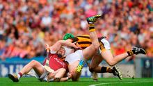 3 July 2016; Joe Canning of Galway in a tangle with Paul Murphy and Joey Holden, right, of Kilkenny during the Leinster GAA Hurling Senior Championship Final match between Galway and Kilkenny at Croke Park in Dublin. Photo by Piaras Ó Mídheach/Sportsfile