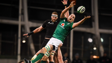 Devin Toner of Ireland wins possession from a lineout ahead of Kieran Read of New Zealand