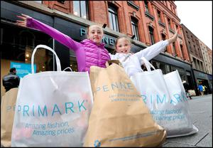 Brooke Sherry (8) and Ella O'Reilly (11) both from Dublin City Centre at the re opening of Penneys Store on Mary Street Photo: Steve Humphreys