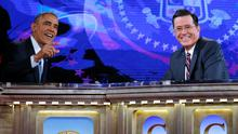 U.S. President Barack Obama appears on The Colbert Report with Stephen Colbert in Washington. REUTERS/Kevin Lamarque