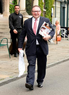 Talent agent Jonathan Shalit, make his way to St Mary's Church in Bury St Edmunds, Suffolk, for the wedding of former Coronation Street actress Michelle Keegan to The Only Way Is Essex star Mark Wright.  Yui Mok/PA Wire