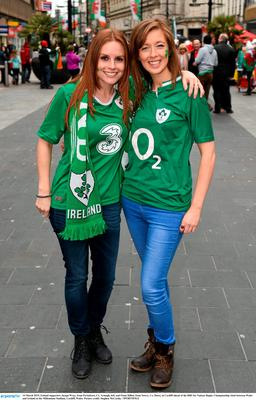 14 March 2015; Ireland supporters Jacqui Wray, from Portadown, Co. Armagh, left, and Fiona Hillen, from Newry, Co. Down, in Cardiff ahead of the RBS Six Nations Rugby Championship clash between Wales and Ireland at the Millennium Stadium, Cardiff, Wales. Picture credit: Stephen McCarthy / SPORTSFILE