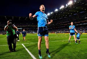 Jack McCaffrey jumps for joy after Dublin's Championship win last year. Photo: Sam Barnes/Sportsfile