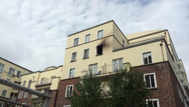 The blaze broke out on the fifth floor of the Northumberland apartments in Love lane, Dublin 2 just after 2:30pm.