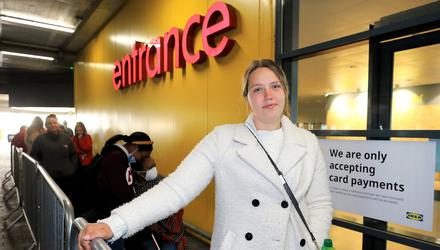 Spending: A perfect V-shaped economic rebound occurred in May and June. Jalanta Vasiljeva from Swords was first in the queue for the reopening of the IKEA store in Ballymun at the start of June. Photo: Frank McGrath