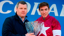 Gordon Elliott and Jack Kennedy with the trophy after A Toi Phil's victory in the Coral.ie Leopardstown Chase. Photo: Cody Glenn/Sportsfile