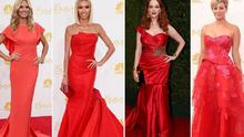 Red was undoubtedly THE fashion colour of the night on the 2014 Emmy's red carpet in LA last night.