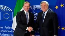 Taoiseach Enda Kenny shakes hands with European Parliament President Antonio Tajani in Brussels. Photo: REUTERS