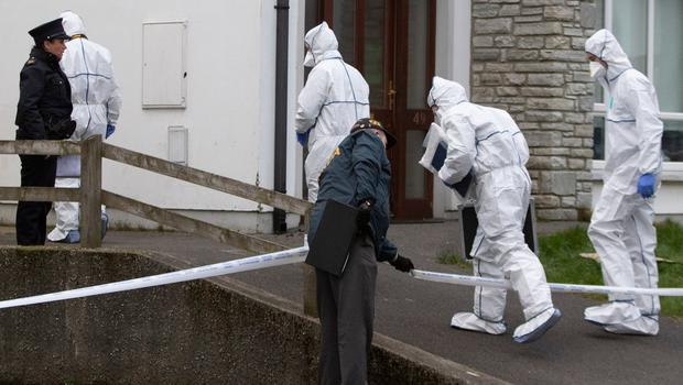 Garda forensics officers at the scene of the murder in Co Donegal. Photo: North West Newspix