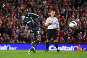 Middlesbrough's Albert Adomah misses his penalty to hand Liverpool the victory in their Capital One Cup clash at Anfield. Photo: Alex Livesey/Getty Images