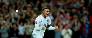 Wayne Rooney celebrates after scoring the second goal for England from the penalty spot and becoming England's all time leading goalscorer