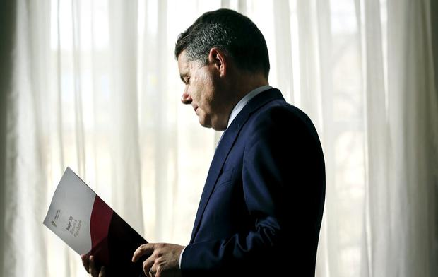 Minister for Finance Paschal Donohoe pictured in his office in the Department of Finance preparing Budget 2020. Photo: Gerry Mooney