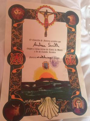 Andrea's certificate for completing her 115km Camino trek