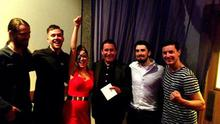 The Riptide Movement pose with Imelda May and Jules Holland during filming for The Imelda May Show