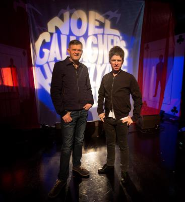 Former Oasis frontman Noel Gallagher pictured with Brendan O'Connor during rehearsals on the set of the RT? Saturday Night Show where he performed two songs with his band High Flying Birds from their new album Chasing Yesterday. Picture Andres Poveda