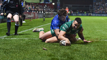 Cian Kelleher, pictured scoring a try against Leinster at the RDS in December, joined Connacht in 2017. Photo by Matt Browne/Sportsfile