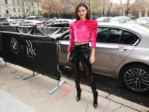 Victoria Justice arrives to NYFW: The Shows in a BMW 750i xDrive Sedan in New York City on February 06, 2020