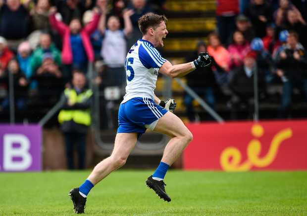 11 June 2017; Conor McManus of Monaghan celebrates after scoring his sides only goal during the Ulster GAA Football Senior Championship Quarter-Final match between Cavan and Monaghan at Kingspan Breffni, in Cavan. Photo by Oliver McVeigh/Sportsfile