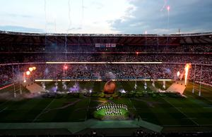 Fireworks at Twickenham during the opening ceremony of the Rugby World Cup. Andrew Matthews/PA Wire.