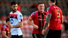 Dan Casey reacts towards his Bohemians team-mate Rob Cornwall, right, following the final whistle of the SSE Airtricity League Premier Division win over Dundalk at Dalymount Park in Dublin. Photo: Stephen McCarthy/Sportsfile