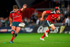 Ian Keatley kicks an unsuccessful penalty in the last minute which would have won the game for Munster. Diarmuid Greene / SPORTSFILE