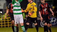 27 March 2015; David Webster, Shamrock Rovers, holds his head after his shot went narrowly wide. SSE Airtricity League Premier Division, Shamrock Rovers v Bohemians. Tallaght Stadium, Tallaght, Co. Dublin. Picture credit: David Maher / SPORTSFILE