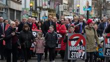 STANDING TOGETHER: Taoiseach Leo Varadkar was among 5,000 people who attended a public rally against violence in Drogheda yesterday. Photo: Mark Condren