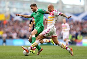 Republic of Ireland's Daryl Murphy in action with Scotland's Alan Hutton