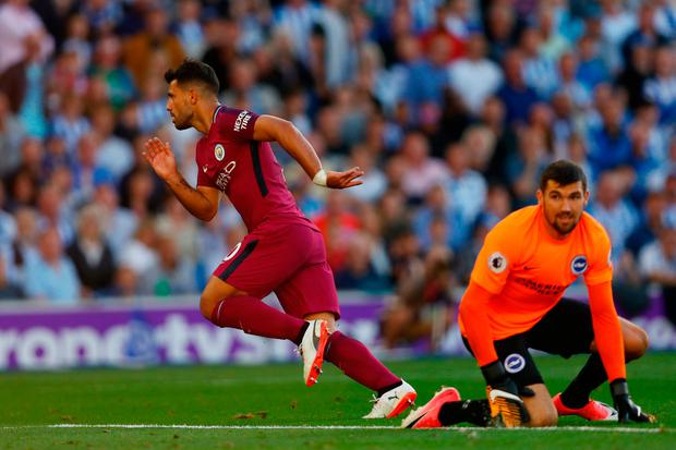Sergio Aguero of Manchester City celebrates scoring his sides first goal Photo: Getty