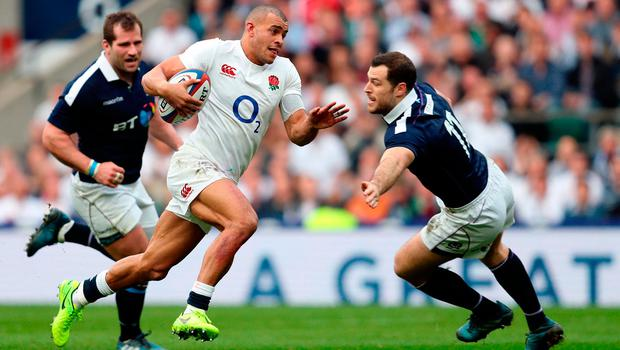 England's Jonathan Joseph breaks through to score his sides second try during Saturday's RBS Six Nations match at Twickenham. Photo: David Davies/PA