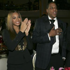 Beyonce and Jay Z during Clive Davis' 2005 Pre-GRAMMY Awards Party
