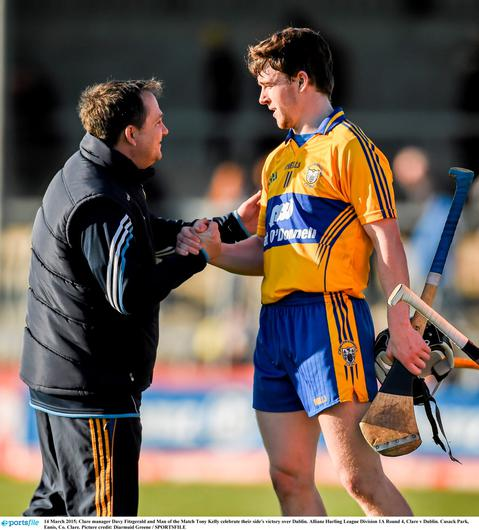 14 March 2015; Clare manager Davy Fitzgerald and Man of the Match Tony Kelly celebrate their side's victory over Dublin. Allianz Hurling League Division 1A Round 4, Clare v Dublin. Cusack Park, Ennis, Co. Clare. Picture credit: Diarmuid Greene / SPORTSFILE