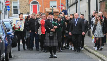 Final curtain: The remains of Fair City actress Jean Costello arrive for her funeral mass at St Agatha's church on North William Street, Dublin. Photo: Gareth Chaney, Collins