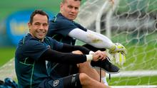 David Forde and Shay Given take a breather during training yesterday. Picture credit: David Maher / SPORTSFILE