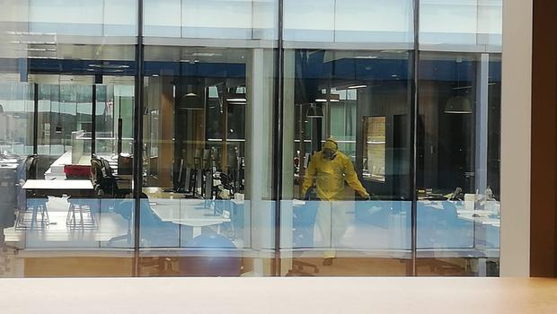 Concerns: Indeed's office, in Capital Dock, Dublin, under went a deep clean by staff in protective clothing