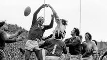 Moss Keane of Ireland (centre left) in action during the Five Nations rugby union match between England and Ireland at Twickenham in London on 16th February 1974.  Ireland won 26-21.  (Photo by Chris Smith/Popperfoto via Getty Images/Getty Images)
