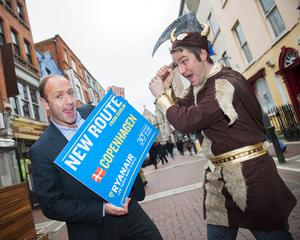 Ryanair's Kenny Jacobs and Robin Kiely, promoting the airline's new route from Dublin to Copenhagen.