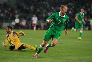 Aiden McGeady celebrates after scoring Ireland's opening goal during the Euro 2016 qualifier against Georgia in Tbilisi. Photo: Nick Potts/PA Wire