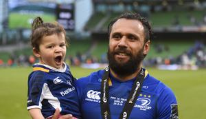 Isa Nacewa of Leinster with his daughter Laura following the 2018 Guinness PRO14 Final against Scarlets. Photo: Sportsfile